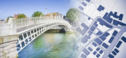 Looking for a house in Dublin - (Ireland) - concept image with the most famous bridge, called Half penny bridge, and an imaginary city map.