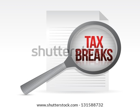 looking for tax breaks. Under a magnifier. Illustration design over white