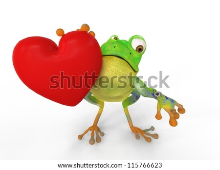 Looking Frog with Heart Watch
