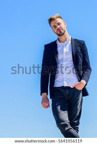 Looking impeccable. Ready to work. Male fashion. Formal style. Confident handsome businessman. Handsome man fashion model. Handsome guy posing in formal suit blue sky background. Office worker.