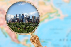 Looking in on Calgary Alberta with blurred map of North America in the background