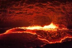 Looking inside the lava lake of Erta Ale, Afar, Ethiopia