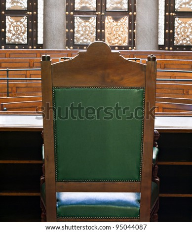 Looking into courtroom from behind judges chair