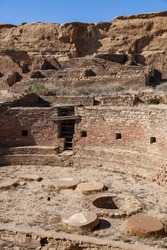 Looking into one  of the ancient Kivas at the Chetro Ketl Great House site built by the Anasazi people in Chaco Canyon, New Mexico.