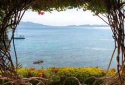 Looking out from beautiful beach house in Batangas Philippines.