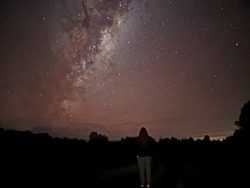 looking out into some stars in the middle of westcoast newzealand