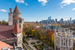 Looking out over the towers of Casa Loma toward the Toronto skyline in the distance.