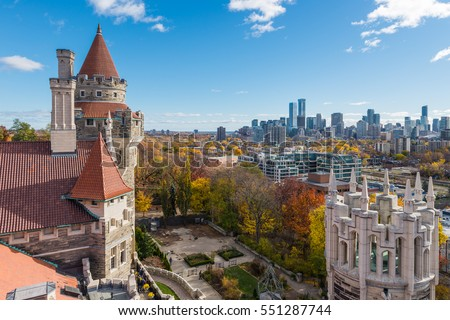 Shutterstock Looking out over the towers of Casa Loma toward the Toronto skyline in the distance.