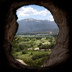 Looking outside a cave at Palmer Park.