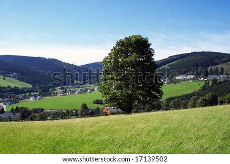 Looking over a part of a german village, seen from a mountain.