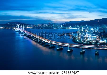 Looking over Busan Diamond bridge from top of a building.