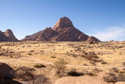 Looking Over Namib Desert with Spitzkoppe Mountain