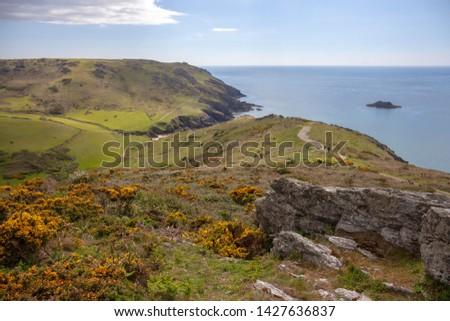 Looking over Soar Mill Cove, Devon, England.