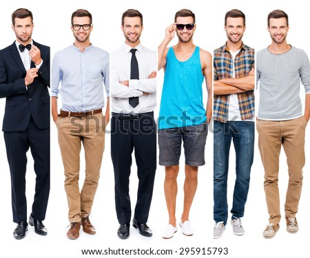 Shutterstock Looking perfect in any style. Collage of smiling young man wearing different clothing and looking at camera while standing against white background