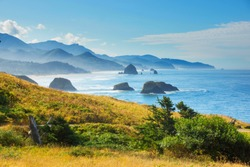 Looking South from  Park towards Cannon Beach Oregon