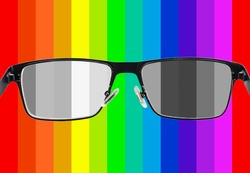 Looking through glasses to bleach color stripes. Color blindness. World perception during depression. Medical condition. Health and disease concept. Daltonism, colourblindness. Not recognizing colors