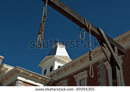 Looking through hanging noose at the county Courthouse, National historical landmark in Tombstone, America's gunfight capital. Arizona, USA