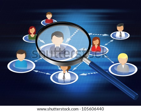 Looking through magnifying glass and social network