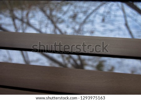 Looking through shades out window #1293975163
