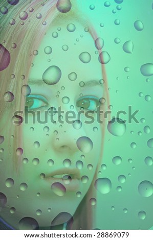looking through the window of the car in rainy day - stock photo
