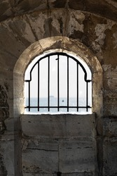 Looking through window at Round Tower, Old Portsmouth, UK