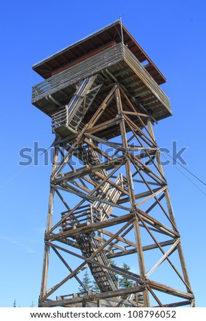 Looking to the top of a forest fire lookout