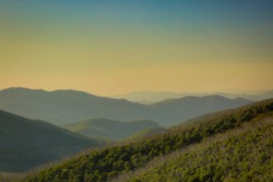Looking toward Mount Bogong at dusk from Ropers Lookout, Falls Creek, Victoria, Australia.
