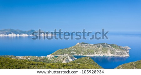 Looking towards the Mirtos Gulf across Assos on the Island of Kefalonia in Greece