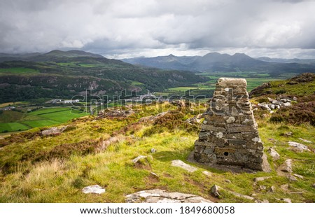 Looking towards the mountains on Snowdonia National Park in Wales, UK from the summit trig point of Moel Y Gest near Porthmadog Zdjęcia stock ©