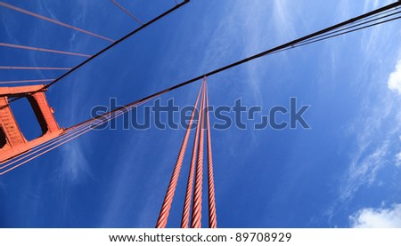 Looking towards the sky along tension cables of the Golden Gate Bridge, San Francisco, California #89708929
