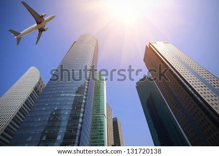 looking up at aircraft flying...