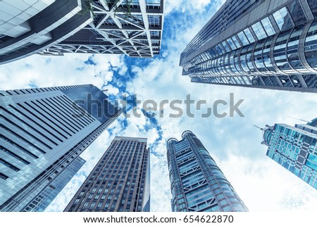 Looking up at business buildings in Lujiazui,Shanghai,China  #654622870