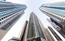 Looking up at Dubai Marina skyscrapers