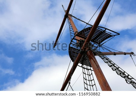 Looking up at sails and mast of boat