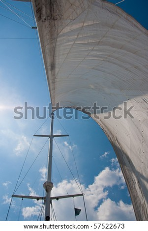 Looking up at sails and mast of boat.