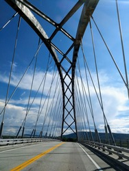 Looking up at the crisscross of a bridge
