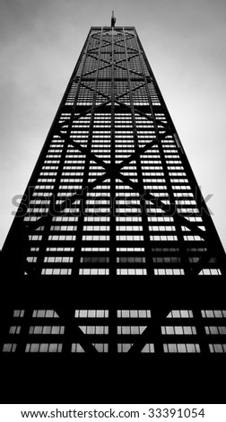 Looking up at the John Hancock tower in Chicago