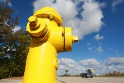Looking Up at Yellow Fire Hydrant Frame Left in a Bright Partly Cloudy Sunny Afternoon with Trees and Sample Road, Pompano Beach, Florida with a Car Traveling By in the Background