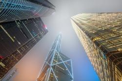 Looking up Hong Kong skyscrapers and office buildings, Hong Kong, China
