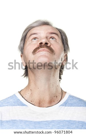 looking up mature caucasian man isolated on white background