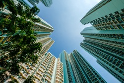 looking up on high-rise apartment building, residential building facade, hongkong