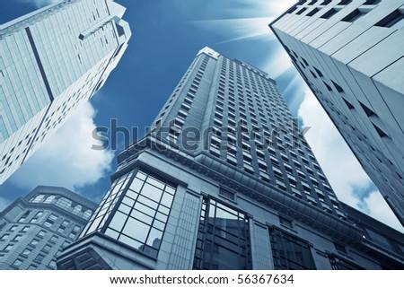 looking up the modern buildings in shanghai