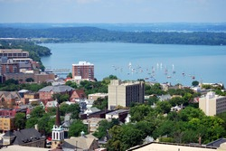 Looking west over downtown Madison, Wisconsin. Includes the UW-Madison campus, Union Terrace and Lake Mendota. Taken from the top of the Capitol building.