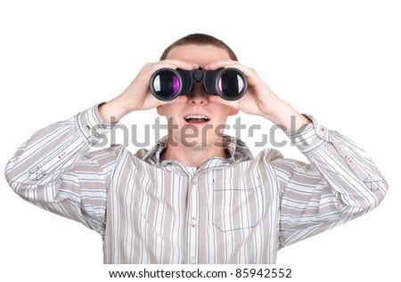 looking with binoculars
