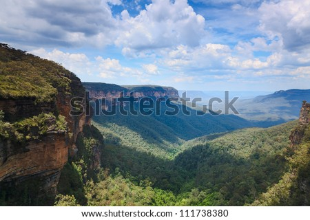 lookout at the evergreen eucalyptus valley between rocky ranges at blue mountains in Australia