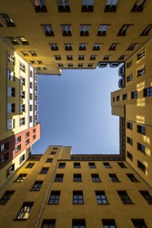 Lookup angle of a residential building in Berlin.