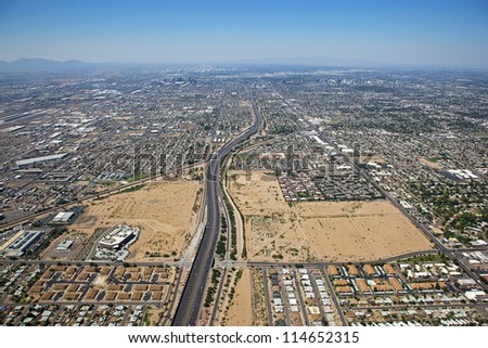Loop 202 Freeway looking west at Downtown Phoenix from high above