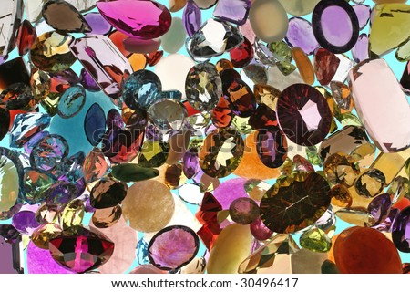 Loose assortment of colored gem stones