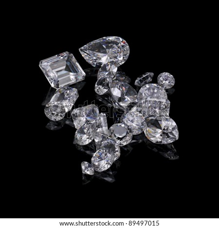 Loose diamond parcel on black background
