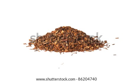 Loose dry Rooibos red tea,  isolated on white background